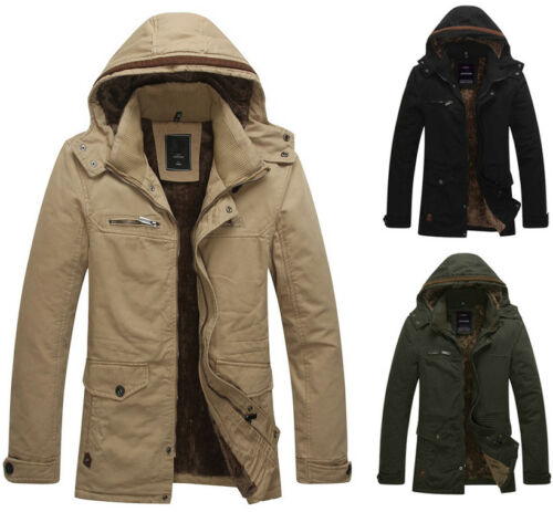 F1054 New Mens Winter Warm Zip UP Fleece Thick Trench Parka Jackets Coats Winter