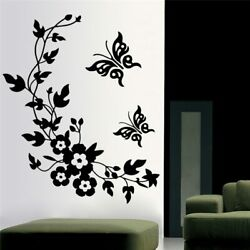 BUTTERFLY FLOWER VINE DECORATIVE WALL STICKERS HOME DECORATION FOR ANT PLACE NEW