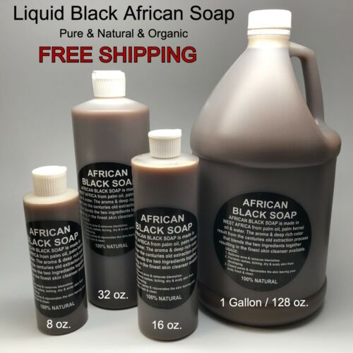 Liquid Raw African Black Soap - 100% Pure & Natural Bath Body Face Wash Cleanser