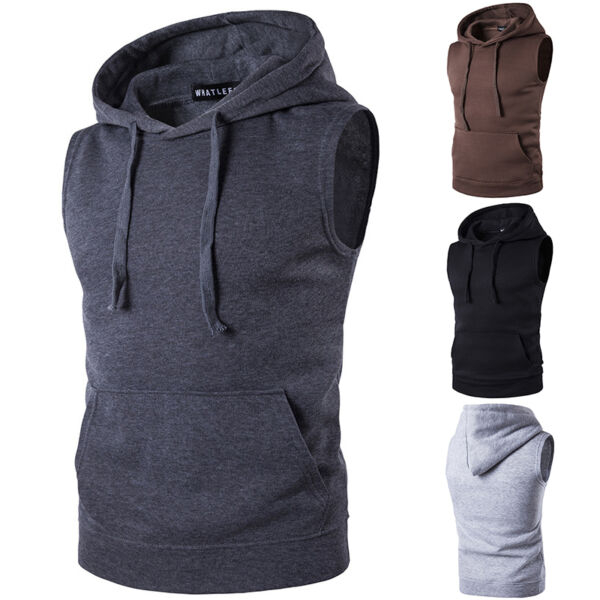 Mens Muscle Sleeveless Hoodie Pullover Tank Top Bodybuilding Gym Workout Vest