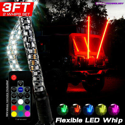 2 Dual 3ft LED RGB Color Whip Lights with Remote Control For ATV UTV RZR 4WD