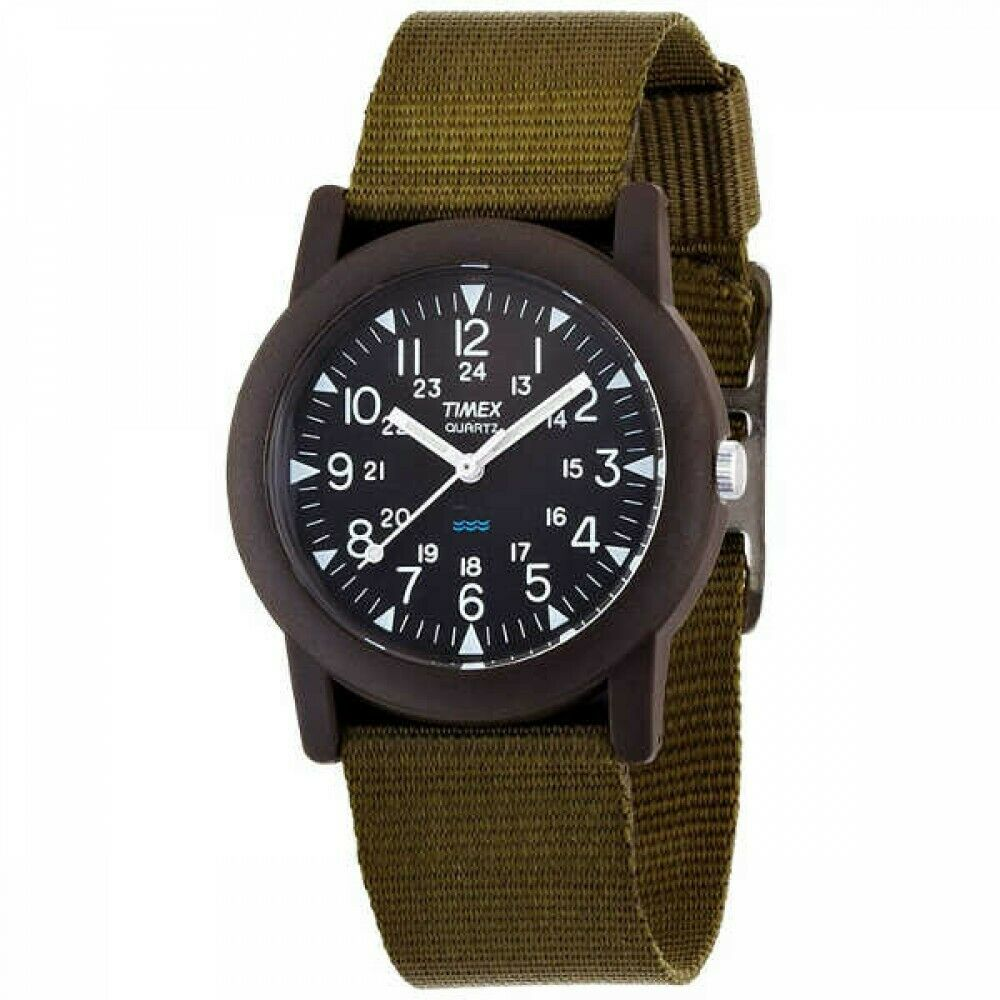 UPC 753048003327 product image for Auth Timex Cr2016cell Black Khaki Darkbrown T41711 Unisex Wrist Watch | upcitemdb.com