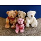 4 x Russ Berrie Bears - Theo, Hucklebeary, Believe & Pink Angel with Red Heart