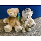3 x Teddy Bears - Two Seated and One Tiny Jointed Bear
