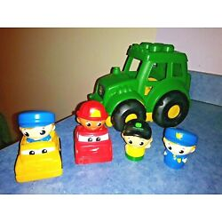 Kyпить LOT  MEGA BLOKS John Deere Tractor Truck Car Green Firefighter Policeman People на еВаy.соm