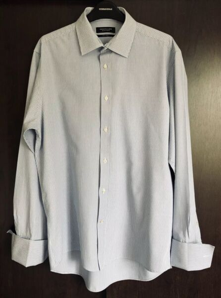 Dehavilland White & Blue Striped Long Sleeved Non-Iron Shirt Size 16""