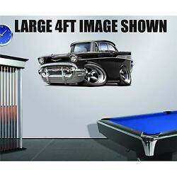 Classic 1957 Chevy 283 Hotrod Cartoon Truck  Wall Stickers Graphics Decal Poster