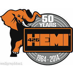MOPAR ''50 Years of HEMI'' Removable Wall Decal Graphic Man Cave Decor Garage