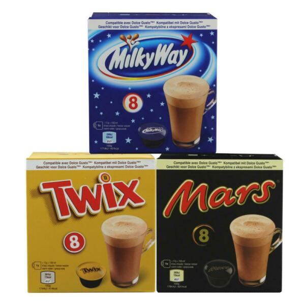 Dolce Gusto kompatibel Kakao Collection Set Mars Twix Milky Way 3x8 Kapseln