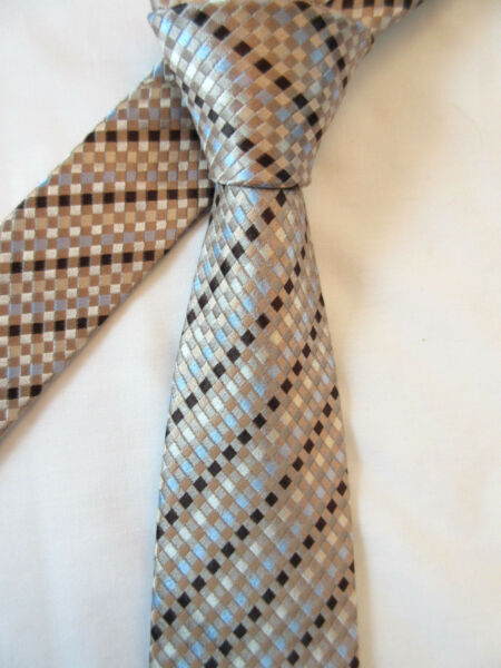 DEHAVILLAND BROWN BEIGE BLUE 3.5 INCH POLYESTER NECK TIE