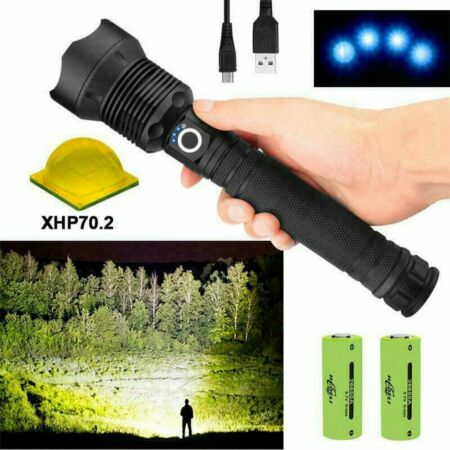 img-Tactical Zoom 3 Mode Most Powerful XHP70.2 LED Flashlight Lamp USB Hunting Torch