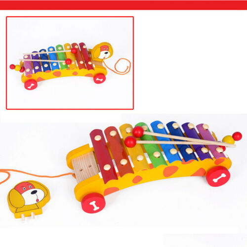 Toddler Toys Dragging a percussion puppy Wooden Toy Early Educational For Kids