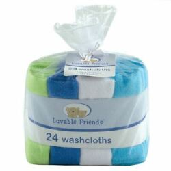 Kyпить Luvable Friends Boy Washcloths, 24-Pack, Blue на еВаy.соm