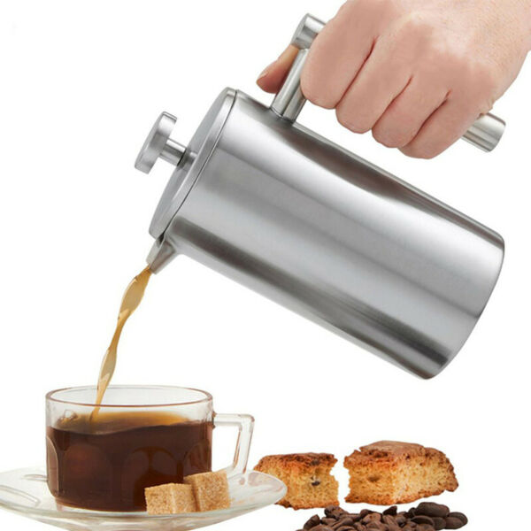 350/800/1000ML French Press Kaffeebereiter Edelstahl Filter Tee Kaffeekanne