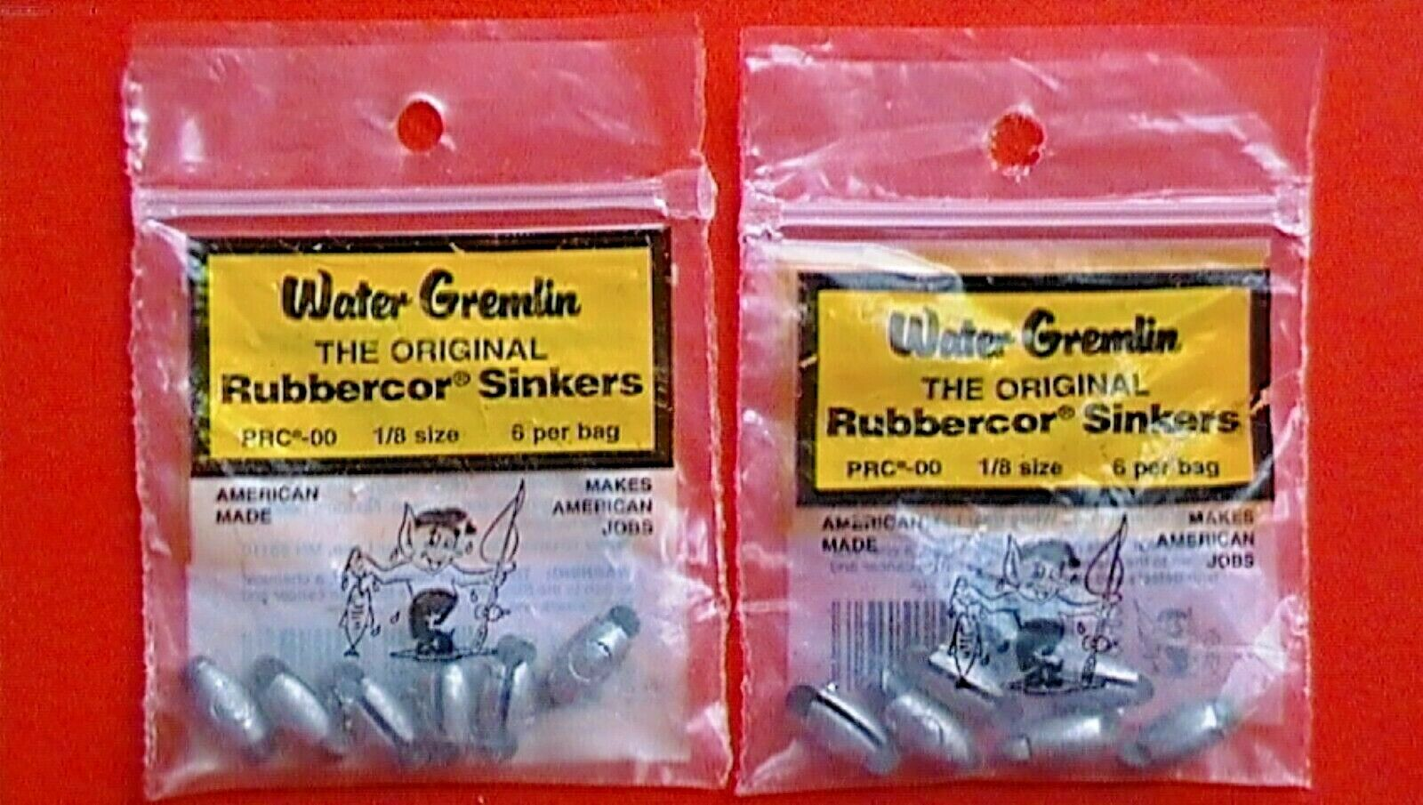 3 Bags of Water Gremlin Rubbercor Sinkers PRC-2  9 total pieces  1//2 Size  NEW