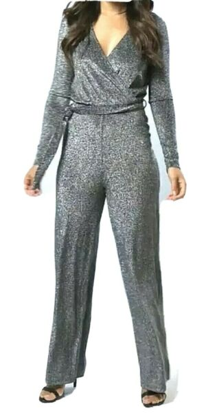 New Womens Stretchy Lurex Knit Tulip Wrap Jumpsuit With Belt Silver/Black UK 12