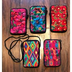 GUATEMALAN COLORFUL HAND WOVEN COTTON EMBROIDERED CELL PHONE PURSE NWT