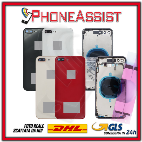 SCOCCA POSTERIORE + FLEX Apple iPhone 8 Plus TELAIO VETRO BACK COVER HOUSING