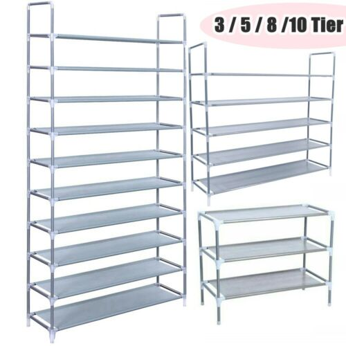 50 Pairs 10 Tier Metal Shoe Rack Space Saving Storage Organizer Shelf Shoe Tower