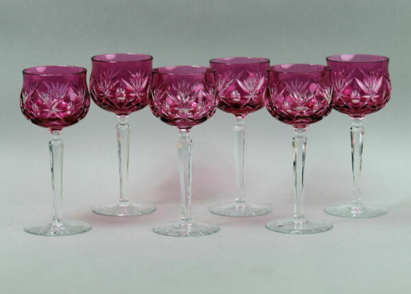 A FINE SET OF SIX CRANBERRY FLASHED & CUT CRYSTAL HOCK GLASSES