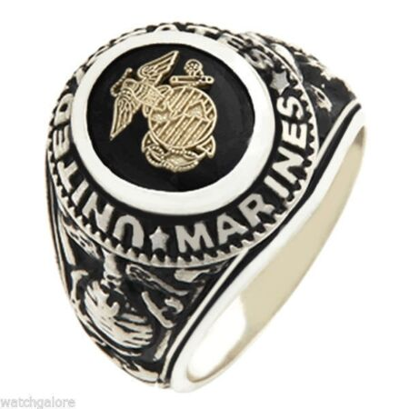 img-Men's 0.925 Solid Sterling Silver US Marine Corp USMC Military solid Back Ring
