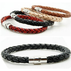 Kyпить Unisex Women Men Braided Leather Steel Clasp Bracelet Handmade Rotating docking на еВаy.соm