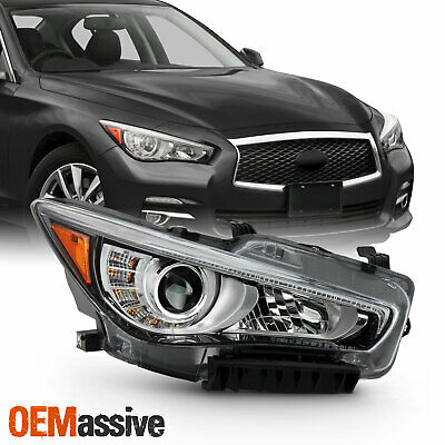 For 2014-2017 InFiniti Q50 w/o AFS LED Projector Chrome Clear Headlamp Passenger