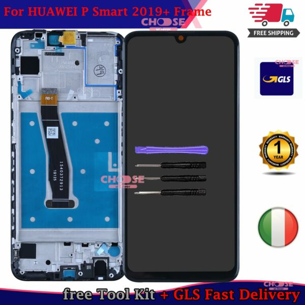 Per HUAWEI P SMART 2019 POT-LX1 LX2 Touch Schermo VETRO + LCD DISPLAY FRAME NERO