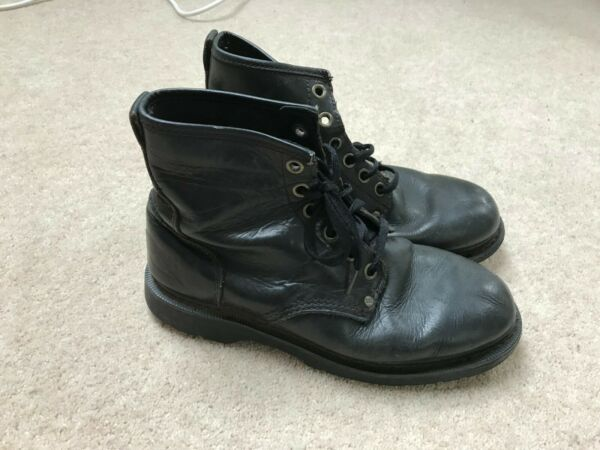 MENS CAT BLACK LEATHER BOOTS UK 8 LACE UP WATERPROOF CATERPILLAR SHOES TRAINER