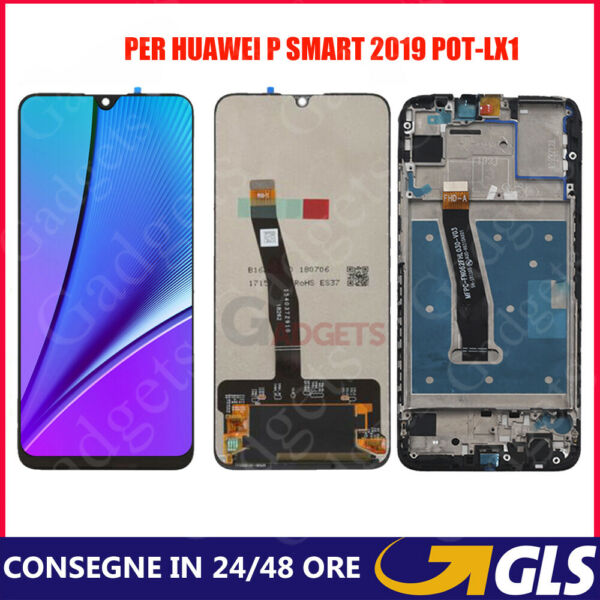 SCHERMO LCD DISPLAY PER HUAWEI P SMART 2019 POT-LX1 TOUCH SCREEN SENZA + FRAME
