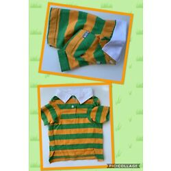 Casual Canine Dog Pet Rugby Polo Shirt Green Orange  NEW