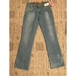 New w/tags - Apple Bottom Jeans Size 7/8 Rhinestone Emb. Baby Blue MSRP $69.00