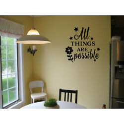 All Things Are Possible VINYL WALL QUOTE DECAL LETTERING Sticker Home Decor