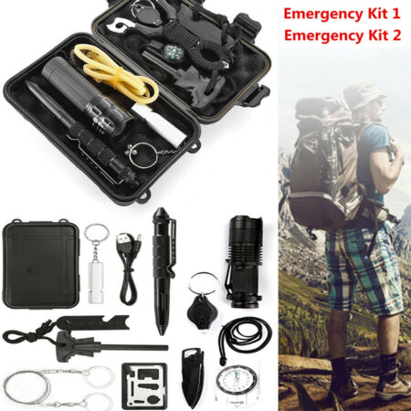 img-Outdoor Emergency Equipment Box Camping Survival Gear Whistle 11 in 1 SOS Kit