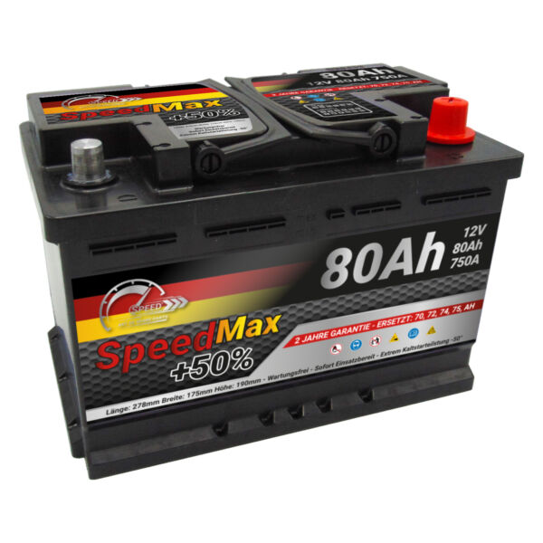 BATTERIA AUTO SPEED MAX L3 80 Ah 750A EN = FIAMM 80 DX + PRONTA ALL'USO