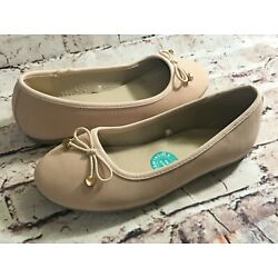 Girl's Flat NY Capelli Shoes Size 3 - Memory Foam Insole Bow Round Toe Nude New