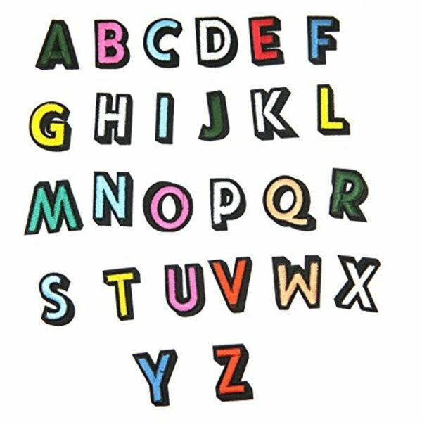 FranceTangger Broderie Patch  26Pcs A-Z Stickers Lettres DIY Embroidered