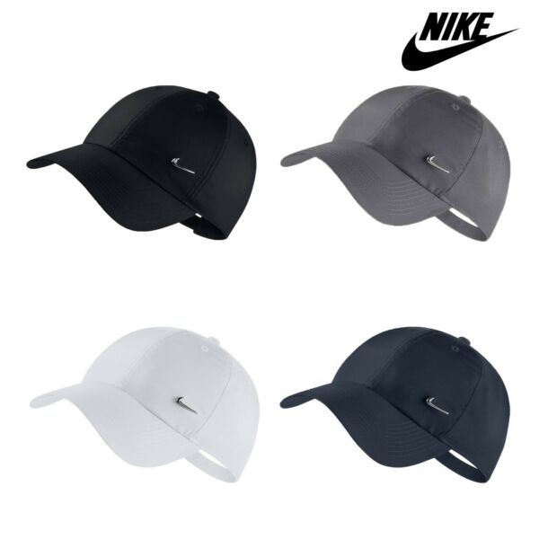 Nike Mens Cap Metal Swoosh Adjustable Hat Sports Black White Navy Grey One Size