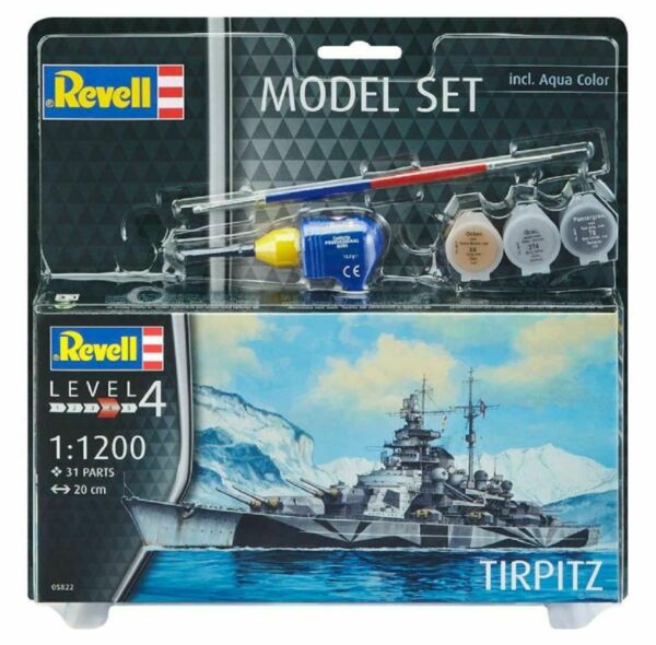 AllemagneRevell Model  Set Incl. Aqua Color Ship Tirpitz 1:1200 Ship Model