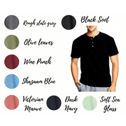 Hanes T Shirts Mens Heritage 1901 Dyed Short Sleeve Henley Tee Shirt Brand NEW