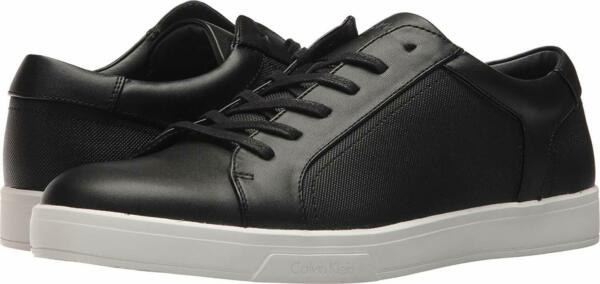 Calvin Klein Mens Bowyer Leather Low Top Lace Up Fashion, Black, Size 8.5 Yd1T