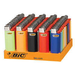 BIC Mini Lighter, Assorted Colors, 50-Count Tray