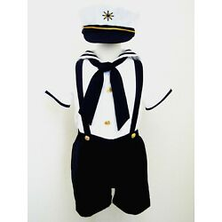 Baby/Toddler Boy Formal Sailor Nautical Suit/Outfit/Costume- White/Navy 2T,3T,4T