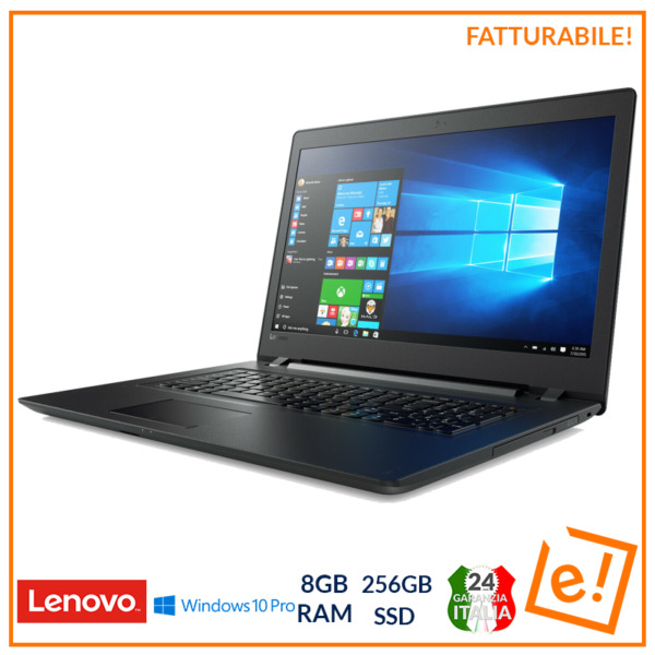 Noteboo Lenovo 15,6'' 8gb RAM PC Portatile 256GB SSD Windows 10 pro