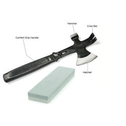 3in1 Hatchet Hammer Nail Puller Pry Bar Axe Doomsday Tools with Sharpener Stone