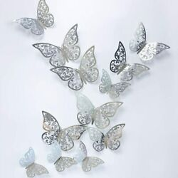 12 Silver Butterfly Wall Stickers 3D Metallic Home Decals Room Decorations Decor