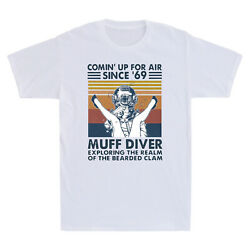 Retro Muff Diver Exploring The Realm Of The Bearded Clam Funny Men's T-Shirt Tee