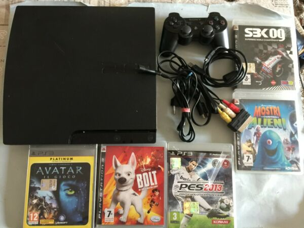 CONSOLE PLAYSTATION 3 PS3 SLIM CECH 3004B 320GB USATA CON 5 GIOCHI