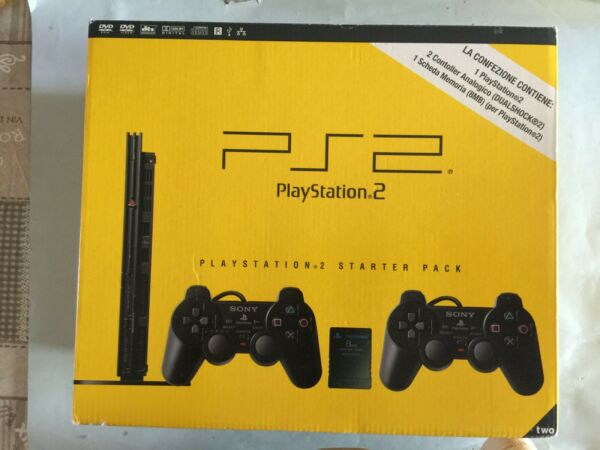 CONSOLE PLAYSTATION 2 PS2 SLIM SCPH 75004 CB STARTER PACK CON SCATOLA BELLA