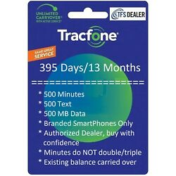 Kyпить TracFone Service Extension 1+ Year/395 Days,500mins/500txt/500MB Branded SmartPh на еВаy.соm